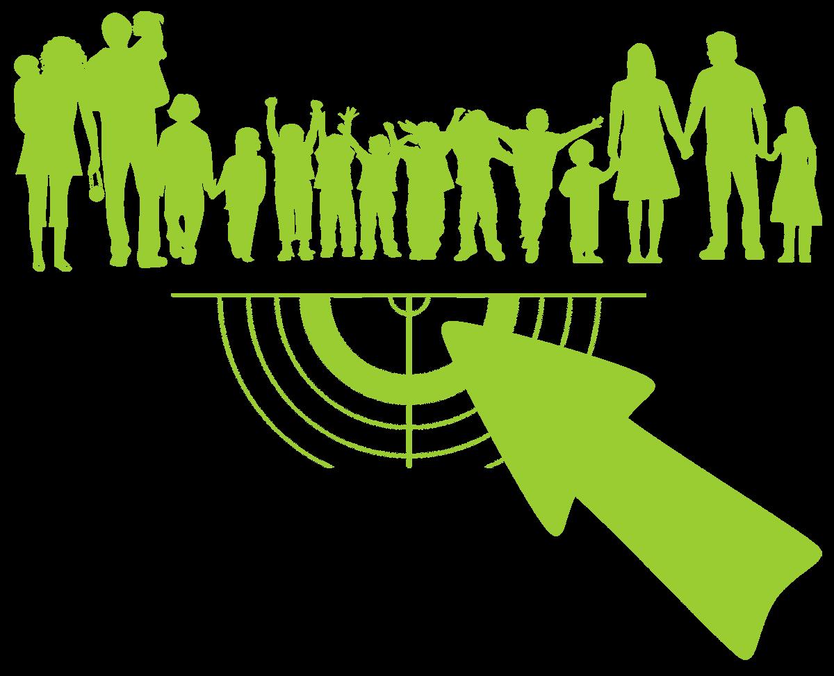Symbolisches Bild von Menschen und einer Zielscheibe als Zielgruppe für einen Blogartikel